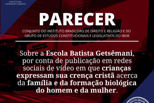 PARECER SOBRE A ESCOLA BATISTA GETSÊMANI